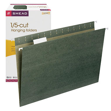 Smead 1/5 Tabs Hanging File Folders, Standard Green (Legal, 50 ct.)