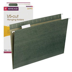 Smead 1/5 Cut Adjustable Positions Hanging File Folders, Legal, Standard Green, 50ct.