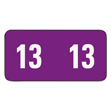 Smead - Year 2013 End Tab Folder Labels, 1/2 x 1, Purple/White - 250 Labels/Pack