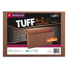 Smead 21 Pocket A-Z Expanding Heavyduty TUFF File, Cord Closure, Legal, Redrope
