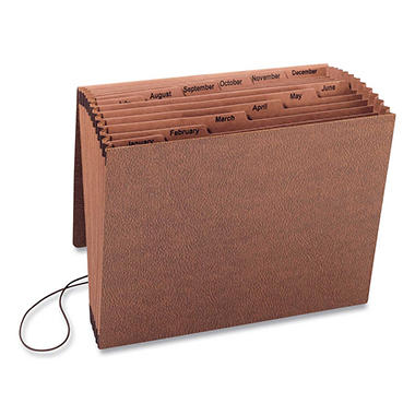 Smead - Jan-Dec Accordion Expanding File, 12 Pocket, Letter - Leather-Like Redrope