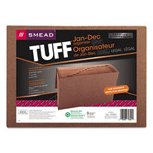 Smead 12 Pocket Jan-Dec TUFF Accordion Expansion File, Cord Closure, Legal, Redrope