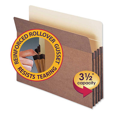 """Smead 3 1/2"""" Straight Tab Accordion Expansion File Pocket, Redrope (Letter, 25 ct.)"""