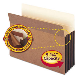 """Smead 5 1/4"""" Accordion Expansion File Pocket with Tyvek, Straight Tab, Letter, Redrope, 10ct."""
