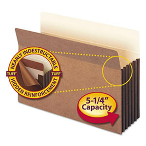 """Smead 5 1/4"""" Accordion Expansion File Pocket with Tyvek, Straight Tab, Legal, Redrope, 10ct."""