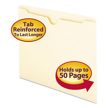 Smead - File Jackets with Double-Ply Tab, Letter, 11 Point Manila - 100 Pack