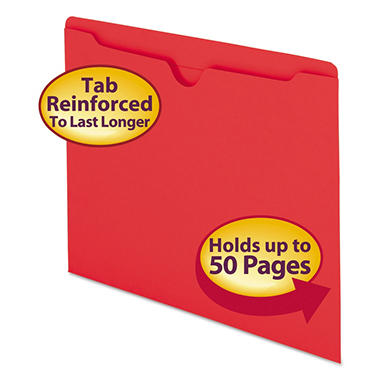 Smead Colored File Jackets w/Reinforced 2-Ply Tab, Letter, 11pt, Red  100ct.