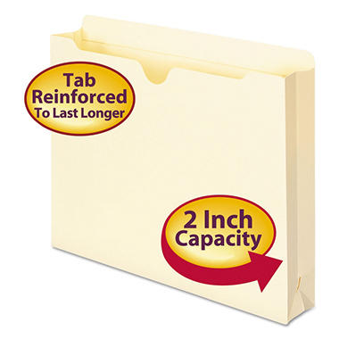 "Smead - Double-Ply Top File Jackets, 2"" Expansion, Letter - 50 File Jackets"