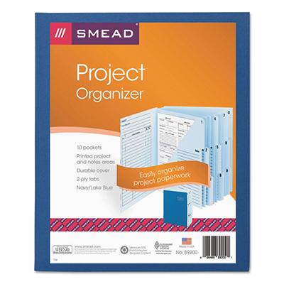 Smead 1/3 Tab 10-Pocket Project Organizer Expanding File, Lake/Navy Blue