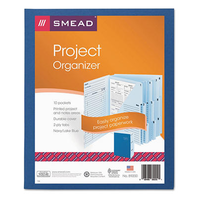 Smead 1/3 Tab 10-Pocket Project Organizer Expanding File, Lake/Navy Blue