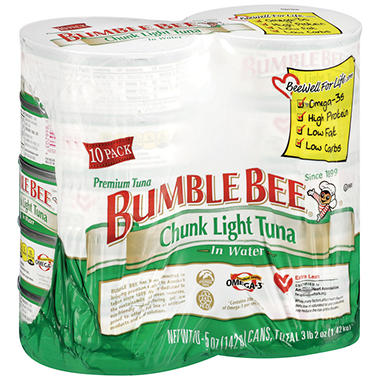 Bumble Bee Chunk Light Tuna in Water - 5 oz. - 10 ct.