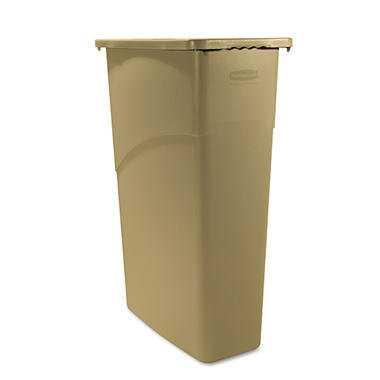 Rubbermaid Slim Jim Waste Receptacle - Beige - 23 gal.