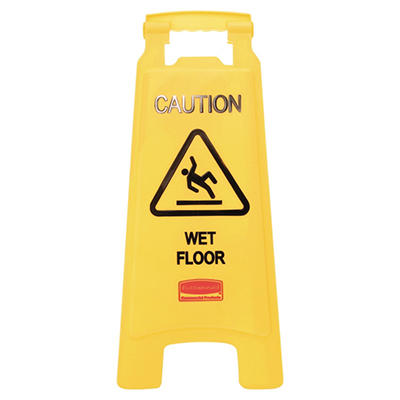 "Rubbermaid Floor Sign with ""Caution Wet Floor"""