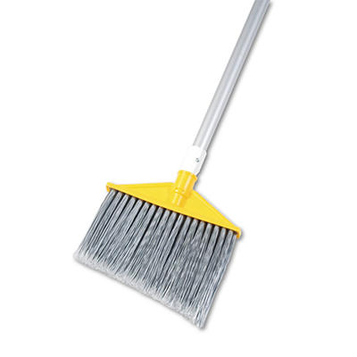 """Rubbermaid Commercial - Angled Large Brooms, Poly Bristles, 48 7/8"""" Aluminum Handle -  Silver/Gray"""