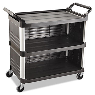 Rubbermaid Xtra? Utility Cart, Enclosed 3 Sides - Black