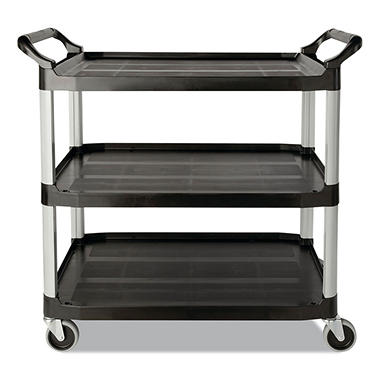 Rubbermaid Three-Shelf Service Cart - Black