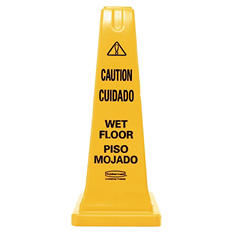 "Rubbermaid Safety Cone with Multi-Lingual ""Caution, Wet Floor"""