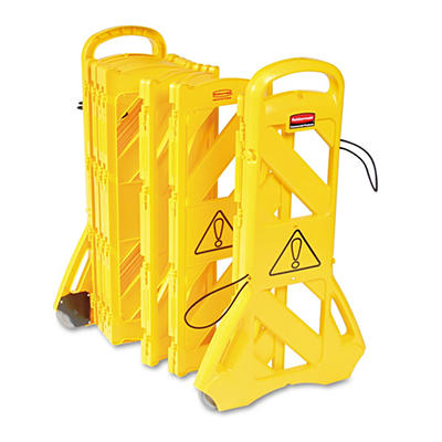 """Rubbermaid Commercial - Portable Mobile Safety Barrier, Plastic, 13ft x 40"""" -  Yellow"""
