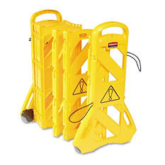 "Rubbermaid Commercial - Portable Mobile Safety Barrier, Plastic, 13ft x 40"" -  Yellow"