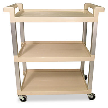 Rubbermaid Utility Cart, 3 Shelves - Beige