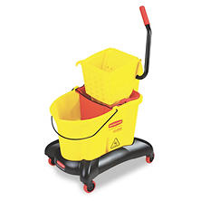 Rubbermaid Commercial - Wavebrake 35 Qt Dual Water Side Press Mop Bucket & Wringer -  Yellow