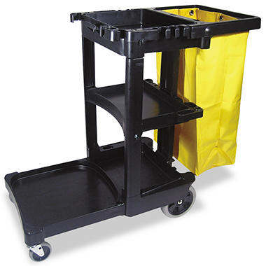 Rubbermaid - Cleaning Cart w/Zippered Bag, 3 Shelves - Black