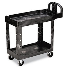 Rubbermaid Heavy-Duty Utility Cart, Small, 2 Shelves - Black