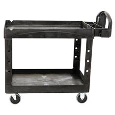 Rubbermaid Heavy-Duty Utility Cart, Large, 2 Shelves - Black