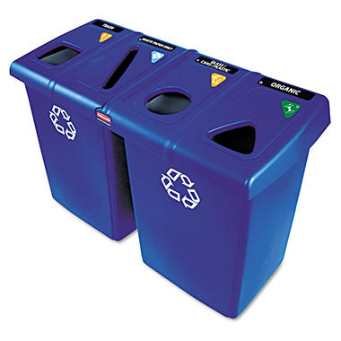 Rubbermaid Commercial - Glutton Recycling Station, Rectangular, Plastic, 92gal -  Blue