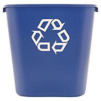 Rubbermaid Deskside Recycling Container - Blue - 28 1/8 qt.