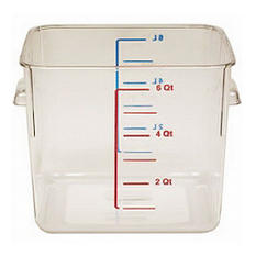 Two 6 QT clear food storage containers with lids.