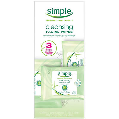 Simple Cleansing Facial Wipes (25 wipes, 3 pk.)