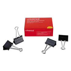"""Universal Large Binder Clips, Steel Wire, 2"""" Wide, 1"""" Capacity, Black/Silver, 36pk."""