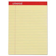 Universal Perforated Edge Writing Pad, Legal/Margin Rule, Letter, Canary, 50-Sheet Pads, 12pk.