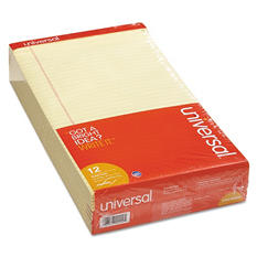 Universal Perforated Edge Writing Pad, Legal/Margin Rule, Legal, Canary, 50-Sheet Pads, 12pk.