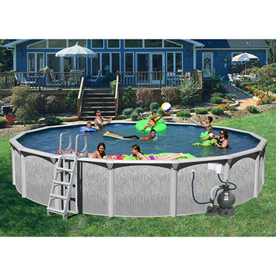 "Rock View 18' x 52"" Round Deluxe Pool Package"