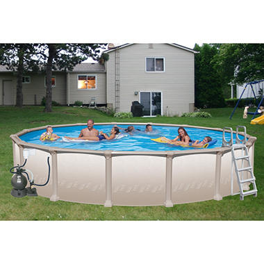 Heritage Nautilus Round Deluxe Above Ground Pool Package - 18' x 52""