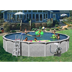 """Heritage Rock View Round Deluxe Pool Package - 24' x 52"""""""