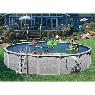 "Rock View 27' x 52"" Round Deluxe Pool Package"