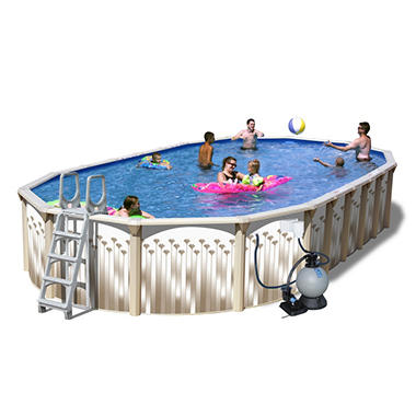 Sun N Fun Galaxy View Space Saver Oval Above Ground Pool Package - 30' x 15' x 52""
