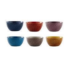 Renaissance Embossed Stoneware Bowls, Set of 6
