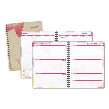 AT-A-GLANCE - Recycled Watercolors Weekly/Monthly Planner, Design, 8 1/2