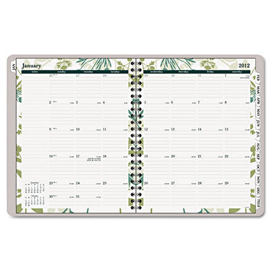 "AT-A-GLANCE - Recycled Botanique Weekly/Monthly Planner, Design, 8 1/2"" x 11"" - 2013"