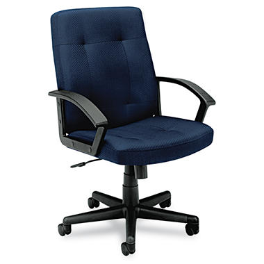 basyx by HON - VL602 Managerial Mid- Back Chair - Navy Fabric