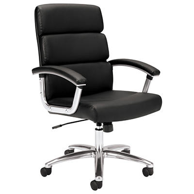 basyx by HON - VL103 Executive Mid-Back Chair - Black Leather