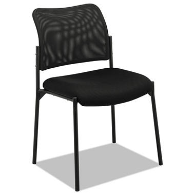 basyx by HON - VL506 Stacking Guest Chair, Mesh Back, Padded Mesh Seat, Black