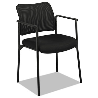 basyx by HON - VL516 Stacking Guest Arm Chair, Mesh Back, Padded Mesh Seat, Black