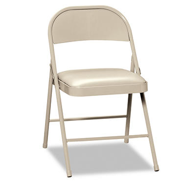 HON - Steel Folding Chairs with Padded Seat, Light Beige - 4 Pack