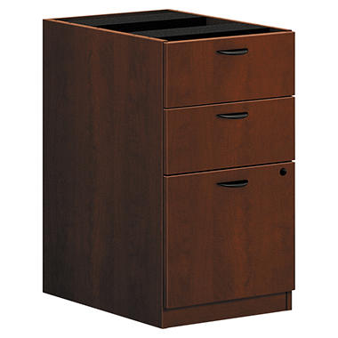 "basyx by HON - BL Laminate Pedestal File Cabinet, 3-Drawer, 15-5/8""W - Medium Cherry"