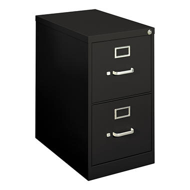 "basyx by HON - H410 Series Vertical File Cabinet, 2-Drawer, Locking, Letter, 22"" Depth - Black"